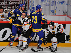 09.05.2012, Ericsson Globe, Stockholm, SWE, IIHF, Eishockey WM, Deutschland vs Schweden, im Bild Sverige Sweden 40 Henrik Zetterberg Sverige Sweden 93 Johan Franzen Germany 19 Evan KAufmann (DEG Dusseldorf) Germany 27 Kevin Lavallee (K?lner Haie) // during the IIHF Icehockey World Championship Game between Germany and Sweden at the Ericsson Globe, Stockholm, Sweden on 2012/05/09. EXPA Pictures © 2012, PhotoCredit: EXPA/ PicAgency Skycam/ ATTENTION - OUT OF SWE *****