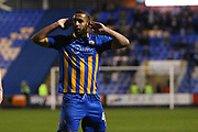 45 Stefan Payne for Shrewsbury Town listens for his name from the fans after scoring during the EFL Sky Bet League 1 match between Shrewsbury Town and Peterborough United at Greenhous Meadow, Shrewsbury, England on 24 April 2018. Picture by Graham Holt.