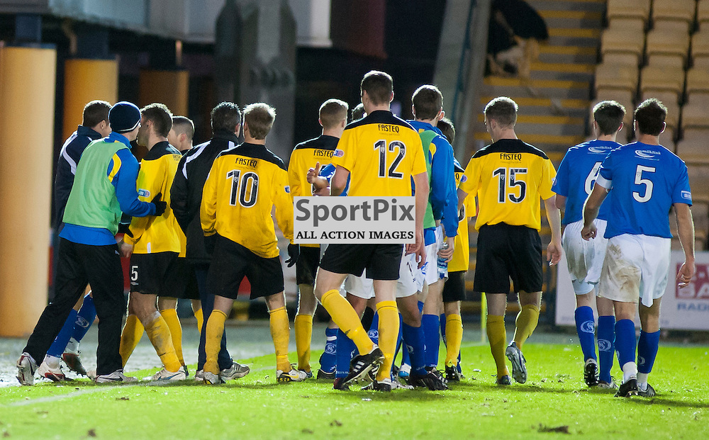 A scuffle breaks out after the final whistle, Livingston v Queen of the South, SFL Division 1, Braidwood Motor Company Stadium, Monday 21st January 2012