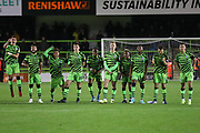 The FGR players celebrate winning the penalty shoot out during the Leasing.com EFL Trophy match between Forest Green Rovers and Coventry City at the New Lawn, Forest Green, United Kingdom on 8 October 2019.