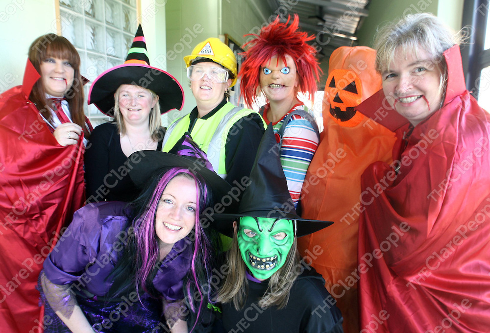 Pictured at the  Halloween Party &amp; Spooky Walk in Kilkee National School were from left<br /> Kilkee teachers Martina O'Grady, Fiona Walshe, Marie Lillis, Deirdre Hehir, Eleanor Corry, Sharon Roche, Louise Mulvihill, and Maureen Flynn.<br /> Pic Noel Gavin/Press 22  25/10/2013