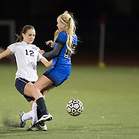 (Photograph by Bill Gerth for SVCN) Prospect #15 Leah Loftus tries to stop  Lincoln #12 Gianna Zades in a BVAL Girls Soccer Game at Lincoln High School, San Jose CA on 1/27/17.  (Lincoln 2 Prospect 1 )