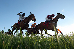 Roaring Bull ridden by Lisa O'Neil (right) wins the Dooley Insurances Flat Race during day one of the Punchestown Festival in Naas, Co. Kildare.