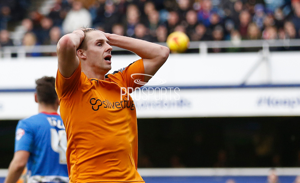 Wolverhampton Wanderers midfielder Dave Edwards comes close and holds his head during the Sky Bet Championship match between Queens Park Rangers and Wolverhampton Wanderers at the Loftus Road Stadium, London, England on 23 January 2016. Photo by Andy Walter.
