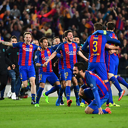 Sergi Roberto and Barcelona celebrate an incredible 6-1 victory, to win 6-5 on aggregate, in the Uefa Champions League Round of 16 second leg match between FC Barcelona and Paris Saint Germain at Camp Nou on March 8, 2017 in Barcelona, Spain. (Photo by Dave Winter/Icon Sport)