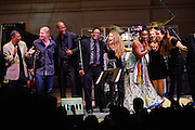 "Derek Trucks, Lionel Loueke, Herbie Hancock, Tal Wilkenfeld, India Arie, Susan Tedeschi, and Krtisina Train at Herbie Hancock's ""Seven Decades: The Birthday Celebration"" at Carnegie Hall. June 24, 2010"