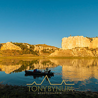 boaters on the missouri river, floating the upper missouri river national monument