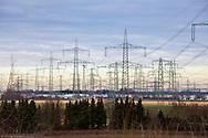 Germany, Cologne, powerlines near Cologne-Loevenich.<br /> <br /> Deutschland, Koeln, Hochspannungsleitungen bei Koeln-Loevenich.