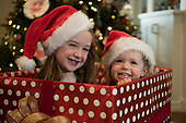 Emmy and Alice Riddy in a box Dec 17, 2017