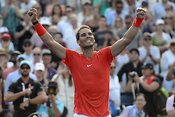 August 12, 2018 - Toronto, Ontario, Canada - RAFAEL NADAL of Spain celebrates winning the Rogers Cup tennis tournament. (Credit Image: © Christopher Levy via ZUMA Wire)