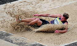 Denmark's Jensen Morten competes in the men's long jump, during the Diamond League athletics meeting at Crystal Palace in London on August 14, 2010.