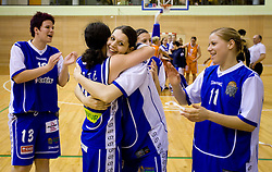 Tjasa Muhovic, Nika Baric, Anja Klavzar and Amadeja Cverlin of Celje celebrate at finals match of Slovenian 1st Women league between KK Hit Kranjska Gora and ZKK Merkur Celje, on May 14, 2009, in Arena Vitranc, Kranjska Gora, Slovenia. Merkur Celje won the third time and became Slovenian National Champion. (Photo by Vid Ponikvar / Sportida)