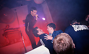 Tom Hingley, lead singer of Inspiral Carpets, on stage, Manchester, UK, circa 1990,