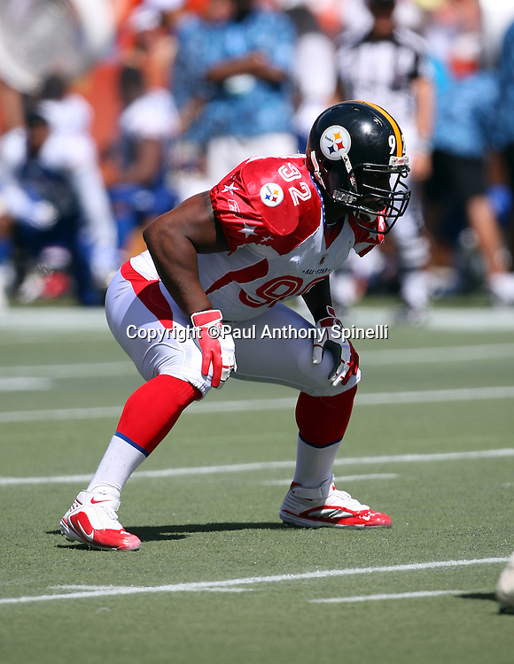 HONOLULU, HI - FEBRUARY 08: AFC All-Stars defensive end James Harrison #92 of the Pittsburgh Steelers gets set for the snap against the NFC All-Stars in the 2009 NFL Pro Bowl at Aloha Stadium on February 8, 2009 in Honolulu, Hawaii. The NFC defeated the AFC 30-21. ©Paul Anthony Spinelli *** Local Caption *** James Harrison