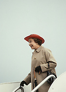 The  queen arrives in Santa Barbara during Queen Elizabeth II visit to California in March 1983...Photograph by Dennis Brack b23