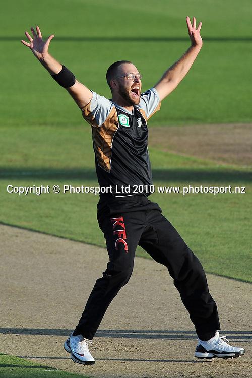 Daniel Vettori celebrates the dismissal of Mushfiqur Rahim.<br />Cricket, KFC Twenty20 Match.<br />New Zealand Black Caps versus Bangladesh.<br />Seddon Park, Hamilton, New Zealand.<br />Tuesday 3 February 2010.<br />Photo: Andrew Cornaga/PHOTOSPORT