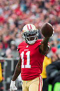 San Francisco 49ers wide receiver Marquise Goodwin (11) reacts to a first down against the Jacksonville Jaguars at Levi's Stadium in Santa Clara, Calif., on December 24, 2017. (Stan Olszewski/Special to S.F. Examiner)