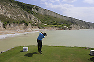Thongchai Jaidee (THA) tees off the ocean bound 9th tee box during Saturday Morning's Last 16 Group of the 2013 Volvo World Matchplay Championship held  at the Thracian Cliffs Golf & Beach Resort, Kavarna, Bulgaria, 18th May 2013..Picture: Eoin Clarke www.golffile.ie.