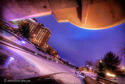 Under bridge on Plaza in Kansas City during winter