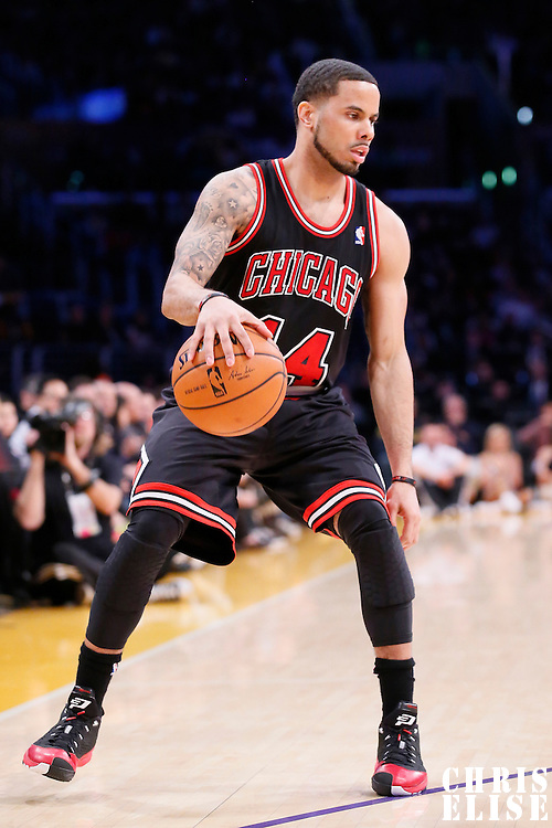09 February 2014: Chicago Bulls point guard D.J. Augustin (14) dribbles during the Chicago Bulls 92-86 victory over the Los Angeles Lakers at the Staples Center, Los Angeles, California, USA.