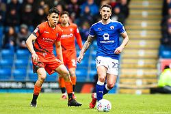 Bradley Barry of Chesterfield takes on Luke O'Nien of Wycombe Wanderers - Mandatory by-line: Robbie Stephenson/JMP - 28/04/2018 - FOOTBALL - Proact Stadium - Chesterfield, England - Chesterfield v Wycombe Wanderers - Sky Bet League Two