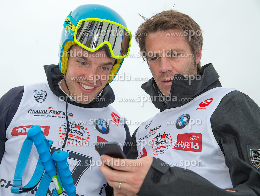 22.03.2014, Casino Arena, Seefeld, AUT, 8. World Star Ski Event, Star Team for Children, Paralell Slalom, im Bild v.l. Peter Rungaldier (Weltmeister Ski Alpin), Peter Fill (Vize Weltmeister Super-G), Emanuele Filiberto von Savoyenc // during the Paralell Slalom of Star Team for Children of 8th World Star Ski Event at the Casino Arena in Seefeld, Austria on 2014/03/22. EXPA Pictures © 2014, PhotoCredit: EXPA/ Johann Groder