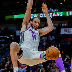 Jan 30, 2018; New Orleans, LA, USA; Sacramento Kings center Kosta Koufos (41) dunks against the New Orleans Pelicans during the first quarter at the Smoothie King Center. Mandatory Credit: Derick E. Hingle-USA TODAY Sports