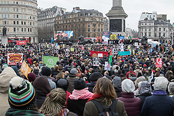 London, February 27th 2016. Thousands listen to speakers at the base of Nelson's Column during CND's rally opposing the UK's Trident nuclear weapons programme. <br /> &copy;Paul Davey<br /> FOR LICENCING CONTACT: Paul Davey +44 (0) 7966 016 296 paul@pauldaveycreative.co.uk
