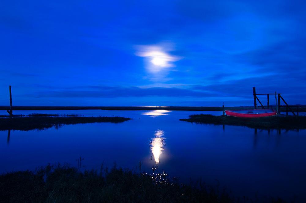 Moon over Thornham, North Norfolk Coast, England, UK, Europe.