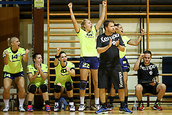 Players of RK Krim Mercator celebrate during hanball match between RK Krim Mercator and ZRK Buducnost at 14th Vinko Kandija Memorial, on August 19, 2017 in Sportna dvorana Krim, Ljubljana, Slovenia. Photo by Matic Klansek Velej / Sportida