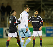 Dundee&rsquo;s Marc Klok congratulates Faissal El Bakhtaoui after the Frnechman has scored his second and Dundee's third goal  - Forfar Athletic v Dundee, Martyn Fotheringham testimonial at Station Park, Forfar.Photo: David Young<br /> <br />  - &copy; David Young - www.davidyoungphoto.co.uk - email: davidyoungphoto@gmail.com