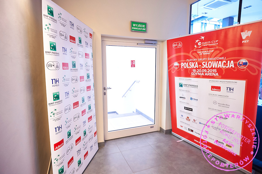 Official posters during official draw one day before Davis Cup Tie World Group Play-off Poland v Slovakia at Mondo di Vinegre Restaurant in Gdynia, Poland.<br /> <br /> Poland, Gdynia, September 17, 2015<br /> <br /> Picture also available in RAW (NEF) or TIFF format on special request.<br /> <br /> For editorial use only. Any commercial or promotional use requires permission.<br /> <br /> Adam Nurkiewicz declares that he has no rights to the image of people at the photographs of his authorship.<br /> <br /> Mandatory credit:<br /> Photo by &copy; Adam Nurkiewicz / Mediasport