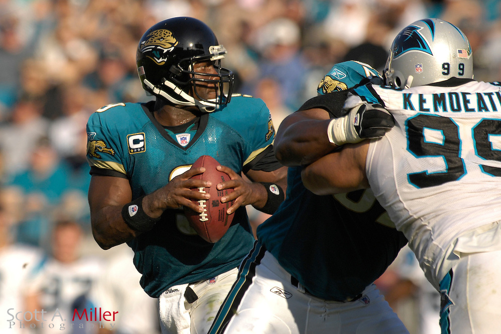 Dec. 9, 2007; Jacksonville, FL, USA;  Jacksonville Jaguars quarterback David Garrard (9) during his team's game against the Carolina Panthers at Jacksonville Municipal Stadium.                        ©2007 Scott A. Miller..©2007 Scott A. Miller