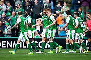 Hibernian defender Steven Whittaker (#3) and Hibernian forward Simon Murray (#15) celebrate Hibernian's second goal (2-1) during the Ladbrokes Scottish Premiership match between Hibernian and Partick Thistle at Easter Road, Edinburgh, Scotland on 5 August 2017. Photo by Craig Doyle.