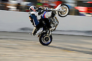 Chris Pfeiffer riding a BMW Motorcycle at Stuntwars 2008 in Lakeland, Florida