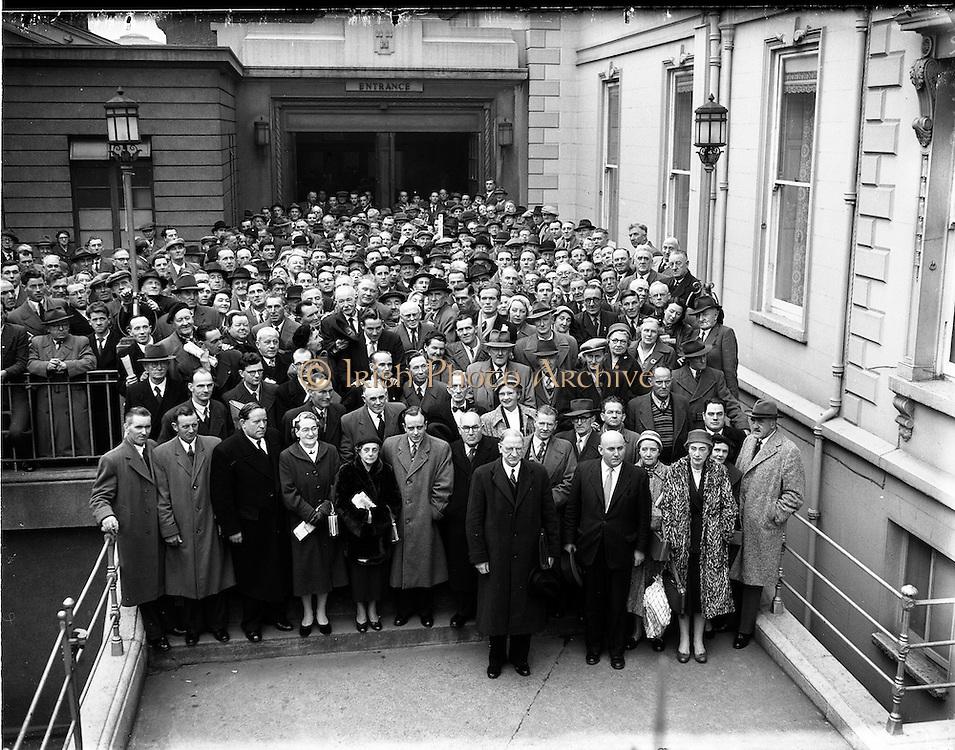 20/11/1956<br /> 11/20/1956<br /> 20 November 1956<br /> Fianna Fail Ard Fheis at the Mansion House, Dublin. Bat Donnegan, (Charleville, Co. Cork) (C) Senator Sean Hartney, (Shangolden, Co. Limerick (E) Patrick Maguire, (BallyLanders, Co Limerick) (B) Martin O'Fogarty (Cashel Co. Tipperary) (A)