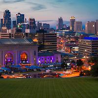Panorama photo of downtown Kansas City, Missouri skyline at dusk, taken Liberty Memorial.