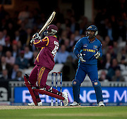 Chris Gayle bats during the ICC World Twenty20 Cup semi-final between Sri Lanka and West Indies at The Oval. Photo © Graham Morris (Tel: +44(0)20 8969 4192 Email: sales@cricketpix.com)