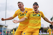 Millwall's Shaun Hutchinson(4) scores a goal 3-4 and celebrates with Millwall's Steve Morison(20) during the EFL Sky Bet League 1 match between Bristol Rovers and Millwall at the Memorial Stadium, Bristol, England on 30 April 2017. Photo by Shane Healey.