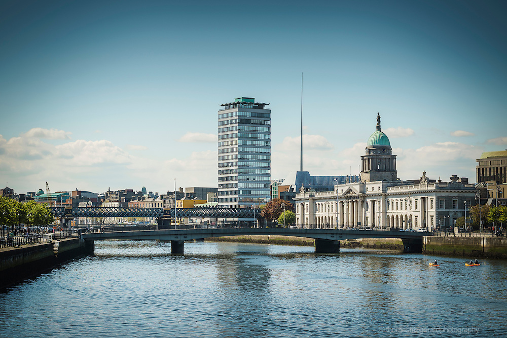 2013: Dublin, Ireland. An iconic look at the buildings along the waterfront of Dublin's river Liffey. The image contains a view of the famous Customs house and Liberty Hall
