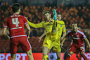 Burnley midfielder David Jones  clears the ball during the Sky Bet Championship match between Middlesbrough and Burnley at the Riverside Stadium, Middlesbrough, England on 15 December 2015. Photo by Simon Davies.
