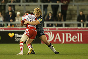 B Burns stopped during the Aviva Premiership match between Sale Sharks and Gloucester Rugby at the AJ Bell Stadium, Eccles, United Kingdom on 29 September 2017. Photo by George Franks.