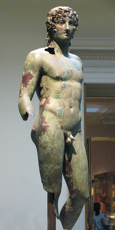 Bronze statue of a young man.  In ancient Greece and Rome bronze and marble statues could be found in public places and sanctuaries of the gods.  Over the years almost all the bronze statues were melted down.  This is one of few which survived and can be found in Egypt.