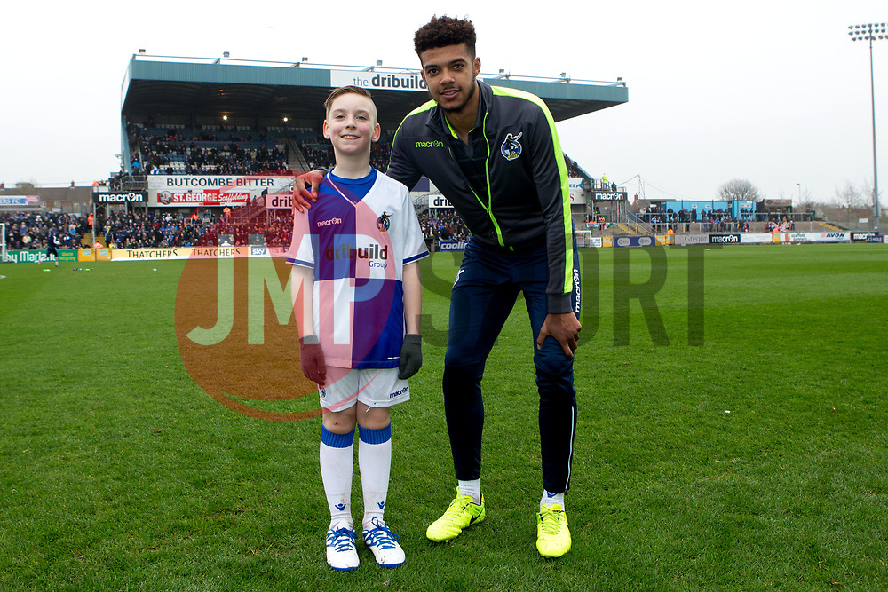 Jake Clarke-Salter of Bristol Rovers with mascot - Mandatory by-line: Robbie Stephenson/JMP - 18/03/2017 - FOOTBALL - Memorial Stadium - Bristol, England - Bristol Rovers v Chesterfield - Sky Bet League One