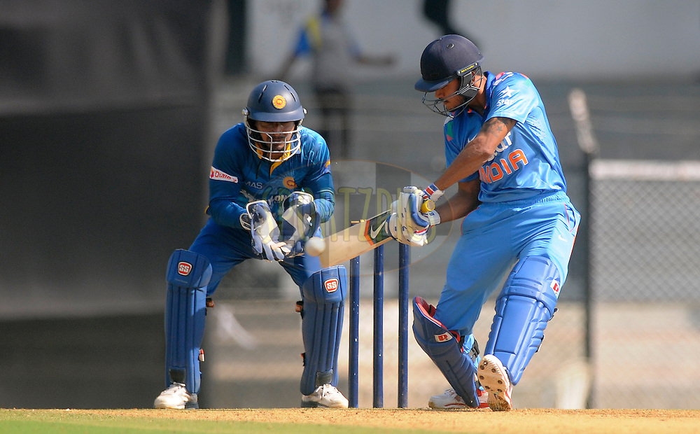 during the practice match between India A and Sri Lanka held at the CCI Stadium, Mumbai,  India on the 30th October 2014<br /> <br /> Photo by:  Pal Pillai/ Sportzpics/ BCCI