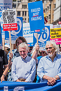 John McDonnell joins the front of the march - #OurNHS70: free, for all, forever a protest and celebration march in honour of the 70 year history of the National Health Service. Organised by: The People's Assembly, Trades Union Congress, Unison, Unite, GMB, British Medical Association, Royal College of Nursing, Royal College of Midwives amongst others.