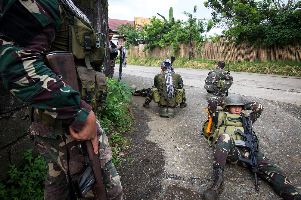 MARAWI, PHILIPPINES - JUNE 6: Government troops rest before going fight with islamist rebel in Marawi City, Southern Philippines, June 6, 2017. (Photo: Richard Atrero de Guzman/NUR Photo)