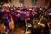 Flushing, NY - February 25, 2017. Visitors pack the second floor hall at the 2017 Charcuterie Masters at Flushing Town Hall.