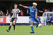 AFC Wimbledon striker Lyle Taylor (33) with a shot at goal during the EFL Sky Bet League 1 match between AFC Wimbledon and Rochdale at the Cherry Red Records Stadium, Kingston, England on 30 September 2017. Photo by Matthew Redman.