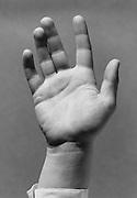 a gesturing hand.